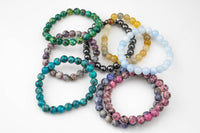 Bracelets 8mm Matte Stackable Round Gemstone Jade Bracelets - Handmade - WHOLESALE - 8mm 7.5""
