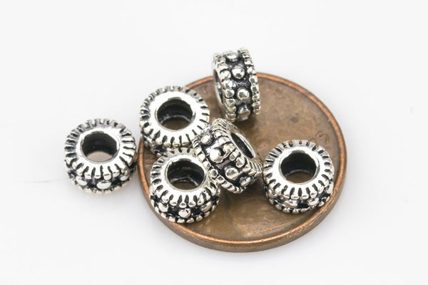 Bead 925 Bali Sterling Silver Spacer Beads 3mm by 6mm to 7mm - 3pcs per order - s10