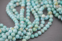 "Cream Light Green Blue Turquoise Smooth Round 6mm 8mm 10mm Full Strand 15.5-16"" AAA Quality"
