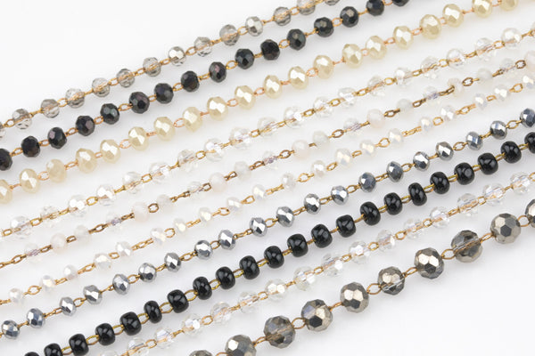 Clear Crystal Rosary Chain by the yard.  2-3mm- Neutral Colors