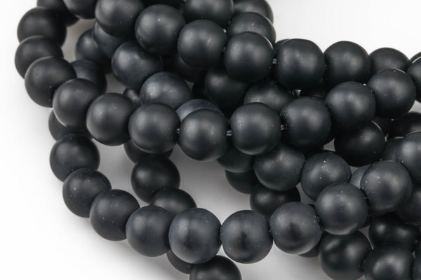 Natural Matte Black Onyx Beads Black Onyx Matte Beads 4mm 6mm 8mm 12mm 14mm Onyx High Quality in  Round Full Strand 15 inch Gemstone Beads