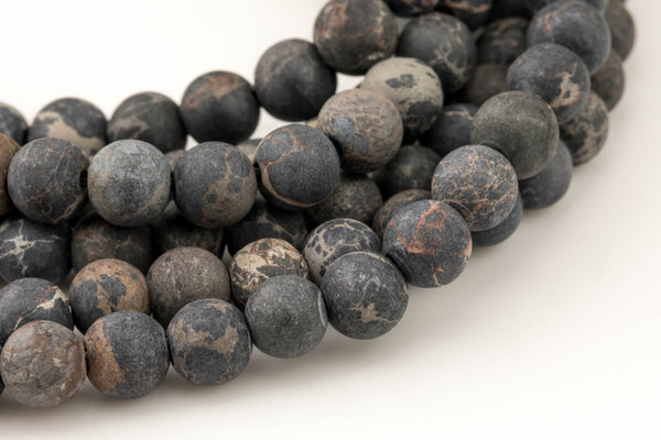 "LARGE-HOLE beads!!! 8mm or 10mm Matte -finished round. 2mm hole. 8"" strands- Sea Sediment Jasper- Black Big Hole Beads"