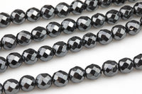NATURAL Hematite Faceted Round Grade AAA 3mm, 4mm, 6mm, 8mm, 10mm- Full 15.5 Inch Strand