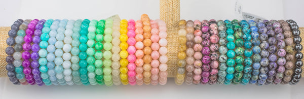 Bracelets 8mm Stackable Smooth Round Gemstone Jade Bracelets - Handmade - WHOLESALE - 8mm 7.5""