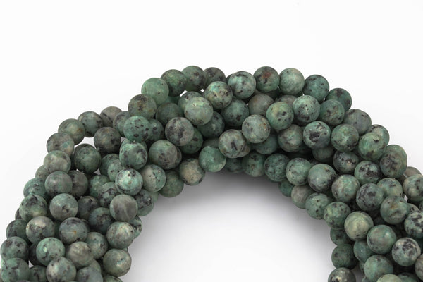 Pale Apatite Dark Green JADE Matte Round- 6-10mm -Full Strand 15.5 inch Strand AAA Quality