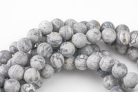 "Matte Gray Picasso Jasper Beads Grade AAA 6mm 8mm 10mm 12mm Loose Beads Full Strand 15.5-16"" AAA Quality"