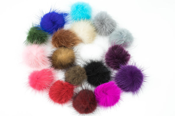 Fuzzy Fur Pom Pom- 1.25 Inches- High Quality - 2 pcs Per Order- Perfect for Earrings