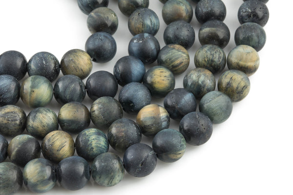 Natural Dark Blue Tiger's Eye Tiger Eye Matte Round Beads, Full Strand 6mm, 8mm, 10mm, or 14mm Beads- Wholesale Pricing- Full 15.5""