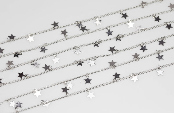Star Drop Chain Silver / White Gold Plated Brass. High Quality White Gold / Platinum Gold Plating. By THE YARD