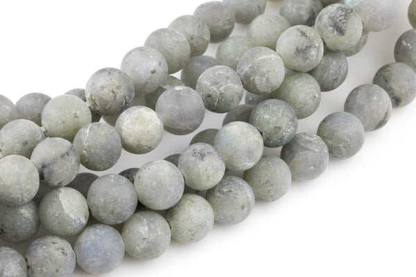 "LARGE-HOLE beads!!! 8mm or 10mm Matte -finished round. 2mm hole. 8"" strands. Natural Labradorite Big Hole Beads"