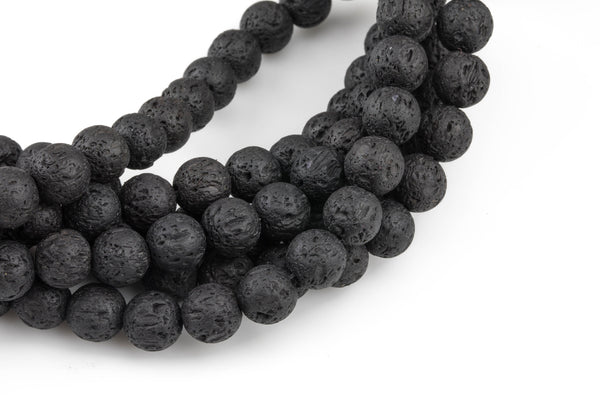 "LARGE-HOLE beads!!! 8mm or 10mm round. 2mm hole. 8"" strands. Lava Big Hole Beads"