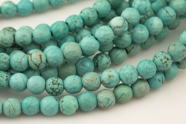 "LARGE-HOLE beads!!! 8mm or 10mm Faceted round. 2mm hole. 8"" strands. Turquoise. Big Hole Beads"