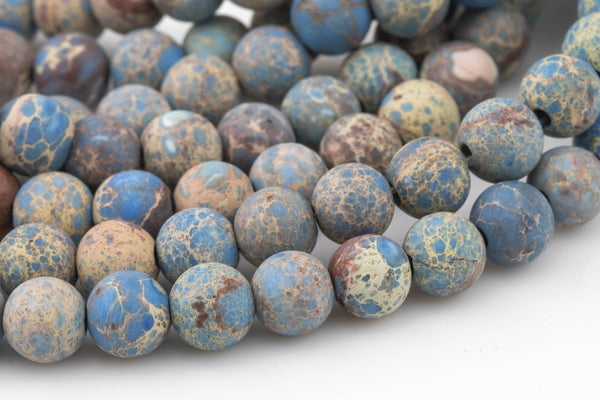 "LARGE-HOLE Carolina Blue  beads!!! 8mm or 10mm Matte -finished round. 2mm hole. 8"" strands- Sea Sediment Jasper- Blue Big Hole Beads"
