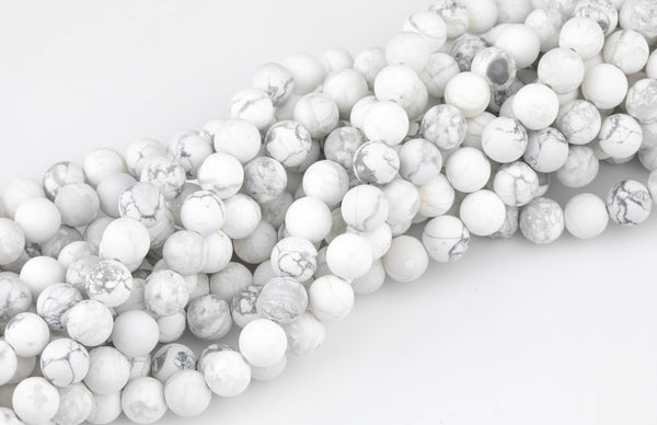 White Howlite Beads Natural Matte White Howlite 4mm 6mm 8mm 10mm 12mm - Wholesale Bulk Pricing- Full 15.5 Inch AAA Quality AAA Quality