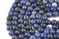 Gorgeous Dark Blue Sodalite, High Quality in Faceted Round, -Full Strand 15.5 inch Strand, 4mm, 6mm, 8mm, 12mm, or 14mm Beads AAA Quality