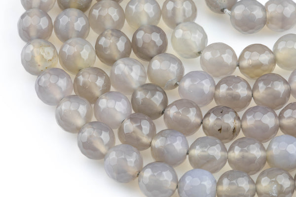 Gray Agate, High Quality in Faceted Round, 4mm, 6mm, 8mm, 10mm, 12mm- Single strand or Wholesale Bulk-Full Strand 15.5 inch Strand