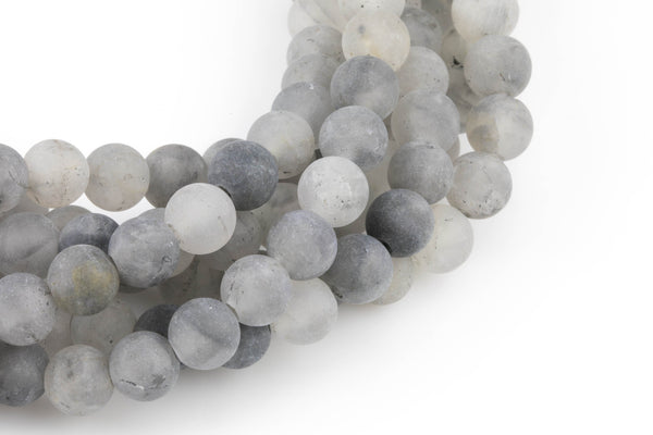 "LARGE-HOLE beads!!! 8mm or 10mm Matte -finished round. 2mm hole. 8"" strands. Cloudy Quartz Big Hole Beads"