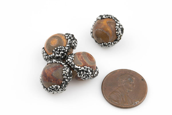 Large Beautiful Pave Stone DZI Bead...Hand encrusted with pave gunmetal hemitite diamonds. 1 bead.12mm. Exclusive item!