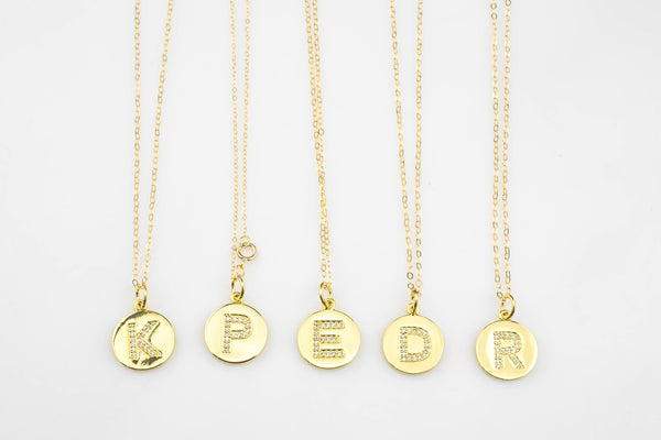 Alphabet Letter Charms Gold and Silver / White Gold -  14mm Coin -  Perfect for personalization Letters