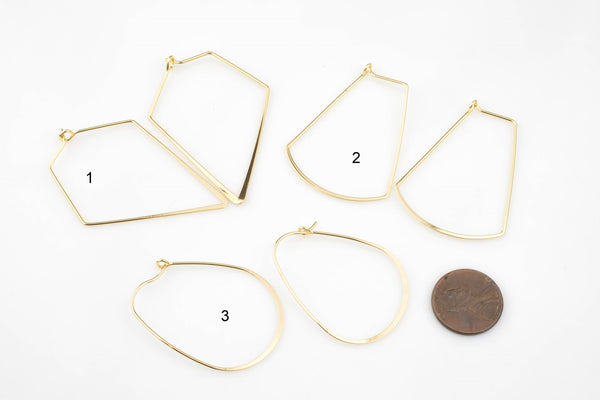 Earring Finding Beading Hoop- High Quality Real Gold Plating, Gunmetal or Brass-Assorted Shape- 2 pairs per order