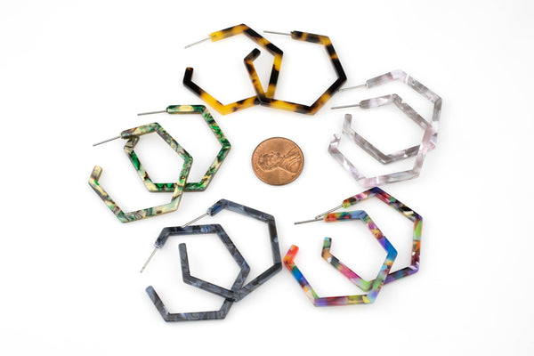 Tortoise Shell Acetate Earring- 35mm Hexagon Stud Drop- Ready to Wear- High Quality- 2 pairs per order Turtle Shell Earrings