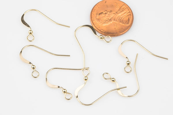 Gold Filled Earring Wire Earwire 22mm - 14/20 Gold Filled- USA Product-All Sizes 4 pcs (2 Pairs)