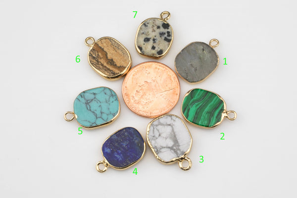 Freeform Gemstone Charm Pendant with Gold Electroplated Edge- 13*18mm