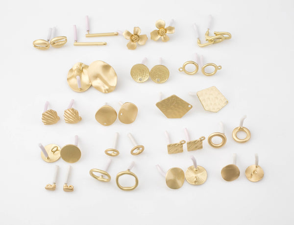 8pcs Matte Gold Earring stud findings High Quality Matte Gold Plating 8pcs/4 pairs