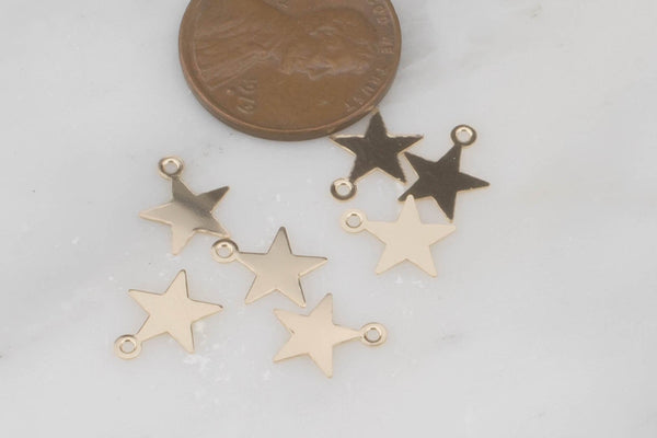 Gold Filled Star Charms and Connectors- 14/20 Gold Filled- USA Product-8mm- 4 pieces per order