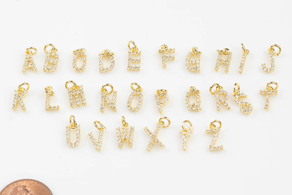 Initial Letter Charms Gold Filled / Silver - Very Dainty and High Quality - Monogram Alphabet Small Diamond Pave A - Z Numbers 0 - 9
