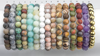 BRACELETS NATURAL Gemstone 8mm Matte Stackable Round Gemstone Jade Bracelets - Handmade - WHOLESALE - 8mm 7.5""