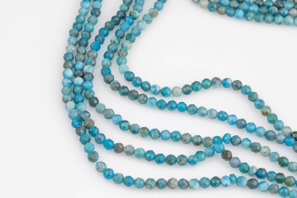 Natural Apatite Beads Full Strands-15.5 inches-2-3mm-  Nice Size Hole-  Diamond Cutting, High Facets-Nice and Sparkly-Faceted Round