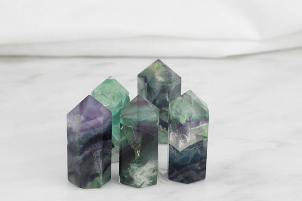 Natural Fluorite Obelisk Tower Point wand healing crystal