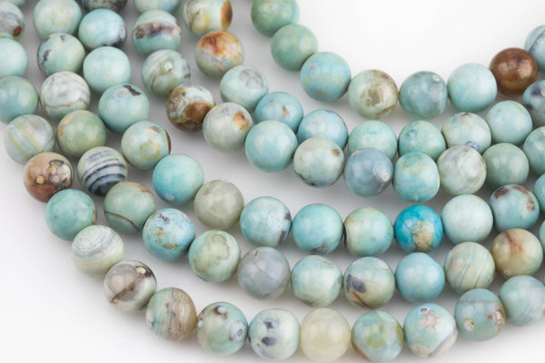Green Teal Aqua Fire Agate, High Quality in Smooth Round, 8mm and 10mm- Full 16 inch strand