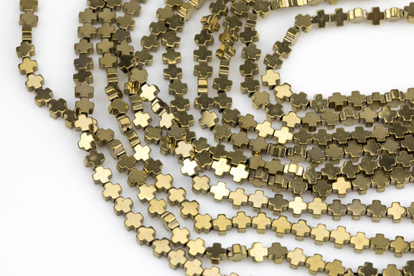 Titanium Pyrite- CROSS Hematite Strands- Light Gold- 4mm- Tiny Size