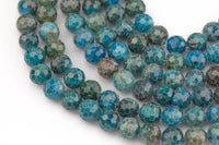 Natural Apatite Diamond Cut Facted Round sizes 8mm, 10mm- Full 15.5 Inch strand AAA Quality