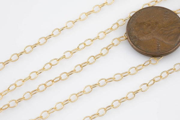 Gold Filled  Texturized Oval Chain, Elongated Oval Chain, 3.5 x 2.3 mm links, , Wholesale, BULK Low Price, Chain by foot
