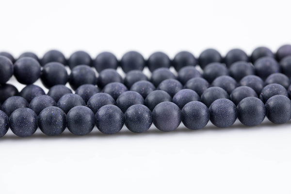 Blue Sandstone Grade AAA Matte Smooth Beads. Full 15.5 Inch strand 4mm, 6mm, 8mm, 10mm, or 12mm