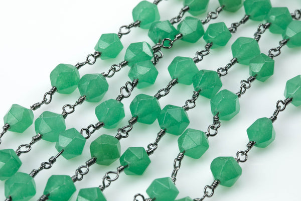 Green Jade Faceted Nugget Rosary Chain - Hexagon Shape - Gunmetal- by the Foot or Yard
