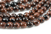 Gorgeous Mahogany Jasper, High Quality in Faceted Round, 6mm, 8mm, 10mm, 12mm- Full 15.5 Inch Strand