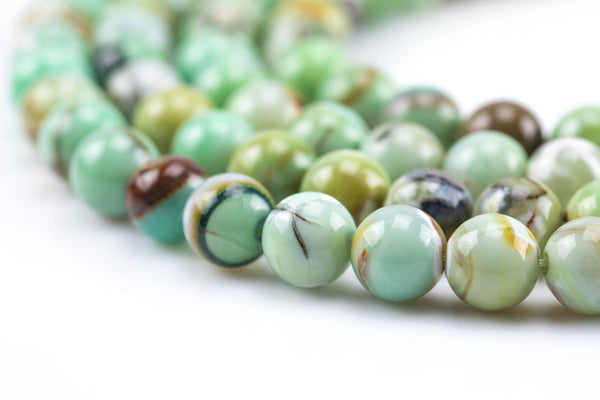 Green Lime Teal Spring Fire Agate, High Quality in Smooth Round, 6mm, 8mm, 10mm, 12mm- Full 16 inch strand