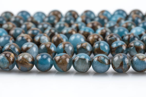 Smooth Aquamarine Mosaic Quartz Beads - Smooth Round AAA Quality AAA Quality