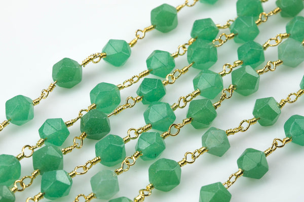 Green Jade Faceted Nugget Rosary Chain - Hexagon Shape - Gold - by the Foot or Yard