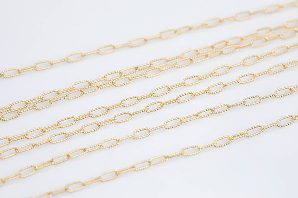 Gold Filled Paper Clip Chain Twisted Texturized Tubed Chain, Elongated Oval Chain,6 x 2.5 mm links, Wholesale, BULK Low Price, Chain by foot