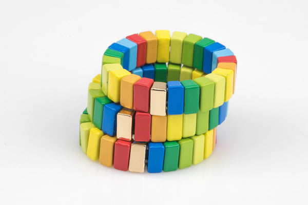 Large Tila Tile Stretchy Ring-Multi Color - Size 7.5- One size fits all- Wholesale Pricing Enamel Tile Beads