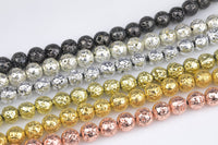 "Natural Volcanic Titanium Lava Round Bead 4mm 6mm 8mm 10mm Metallic Gunmetal Black Silver Rose Gold Plated Light Gold Lava Rock 16"" Strand"
