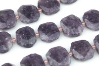 "Natural Purple Mica Lepidolite~19x23mm -  A Grade - Hand Faceted Flat Rectangular Nuggets - 16"" Strand Gemstone Beads"