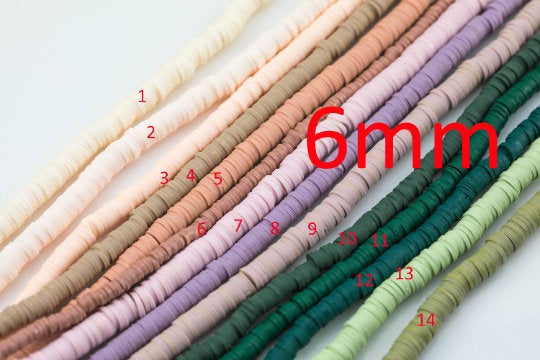 NEW COLORS!! 2str Special Colors 6mm Soft AFRICAN Colored Vinyl Heishi beads Clay Disc - 16 inch strand- 2 Strands Per Order