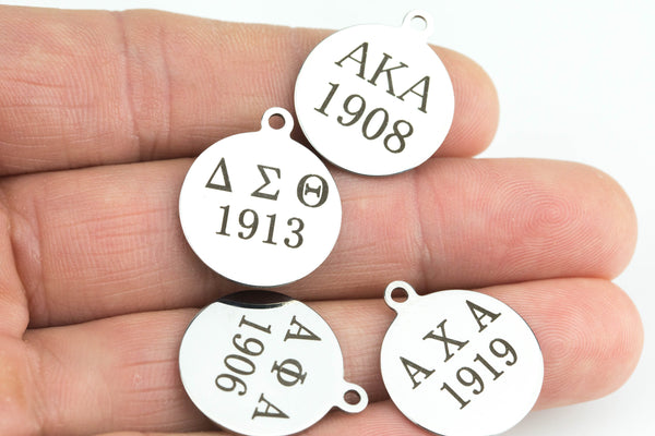 CUSTOM Greek Letters Tag- 14 or 20mm- Stainless Steel Round Tag- Greek Fraternity Sorority