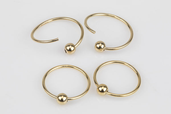 Gold Filled Ball Hoop Earing- 14/20 Gold Filled- USA Product- 12mm with 3mm bead